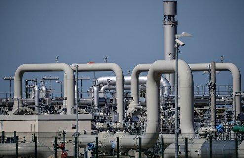 """Готовая часть газопровода """"Северный поток"""" в окрестностях города Любмин."""